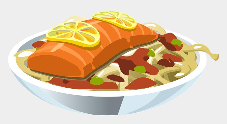 salmon clipart, Cartoons - Food Salmon Lemon Fish Seafood Meal Dinner - Salmon Clipart Transparent Background