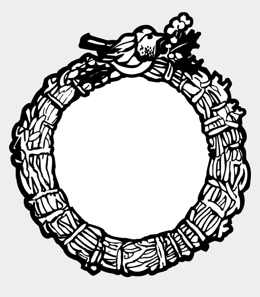christmas garland clip art, Cartoons - How To Set Use Bird Wreath Frame Svg Vector - Black And White Christmas Wreath Png