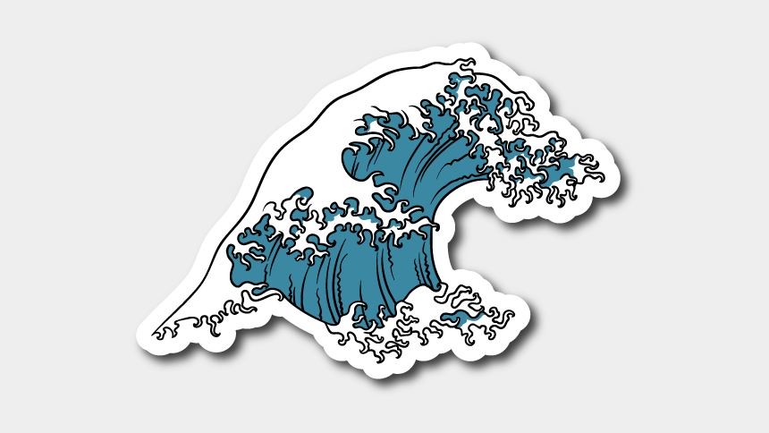 wave clip art, Cartoons - Wave Clip Japanese - Japanese Wave Sticker