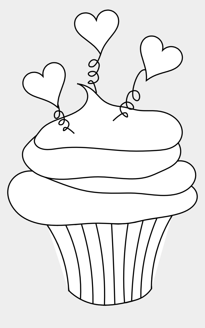 cupcake clip art, Cartoons - Cupcake Clipart Black And White - Valentine's Day Cupcakes Coloring Pages