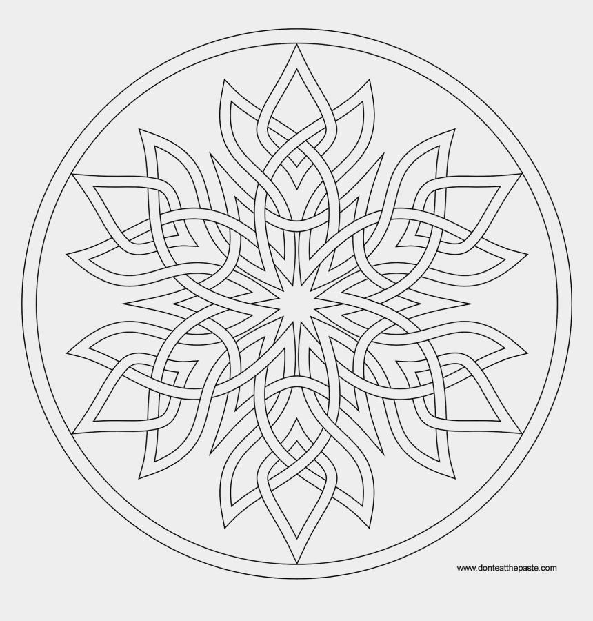 mandala clipart black and white, Cartoons - Love Mirror Coloring Page Mandala, Mandalas And Adult - Snowflake Mandalas To Color