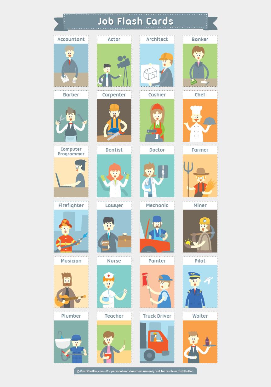 Free Printable Job Flash Cards Flashcards English Vocabulary Pdf Cliparts Cartoons Jing Fm