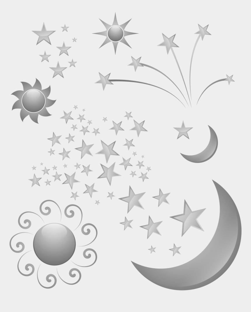 moon and stars clipart black and white, Cartoons - Moon Sun Stars - Sigma Squad