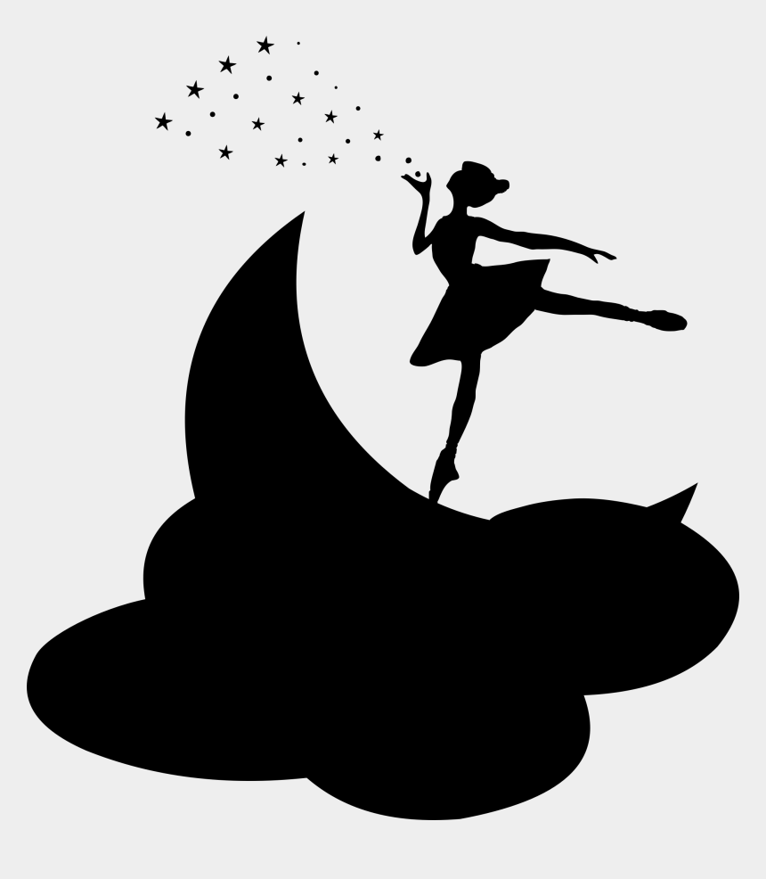 moon and stars clipart black and white, Cartoons - Moon - Fairy Ballerina Silhouette Png