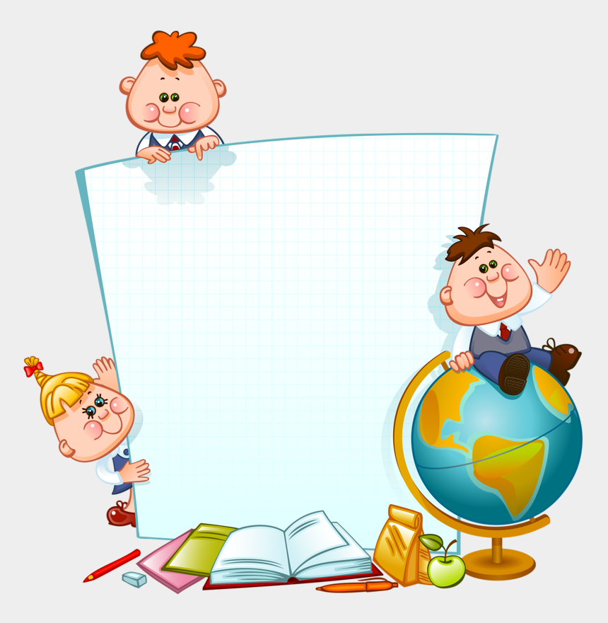 school children clipart black and white, Cartoons - Baby Border Png - School Children Borders