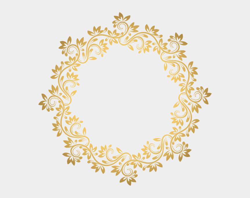 art deco clipart, Cartoons - Gold Round Border Png Transparent Clip Borders Ⓒ - Transparent Background Border Gold Frame Png
