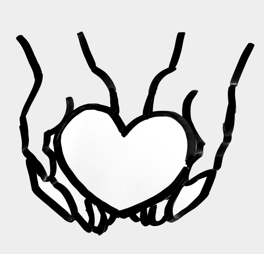 hands holding heart clipart, Cartoons - Connect With Us - Hand Holding Heart Black And White Clipart