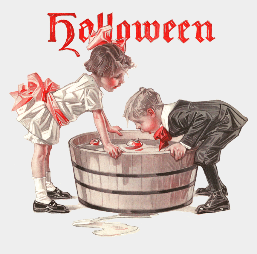 vintage halloween clipart, Cartoons - I Hope You Have Lots Of Fun Creating Any Of Your Halloween - Bobbing For Apples Clipart