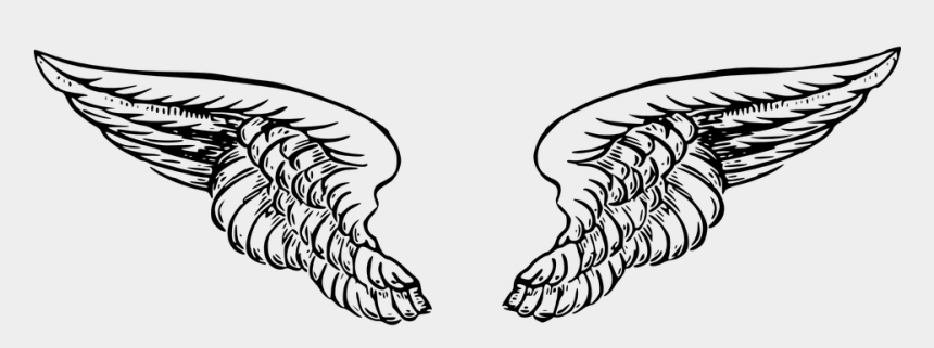 angel wings clipart black and white, Cartoons - Wings Angel Black White Tattoo Heaven Feather - Angel Wings Drawing Png