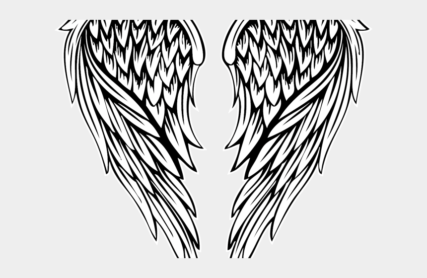 angel wings clipart black and white, Cartoons - Fallen Angel Clipart Colored Angel Wing - Fallen Angel Wings Drawing