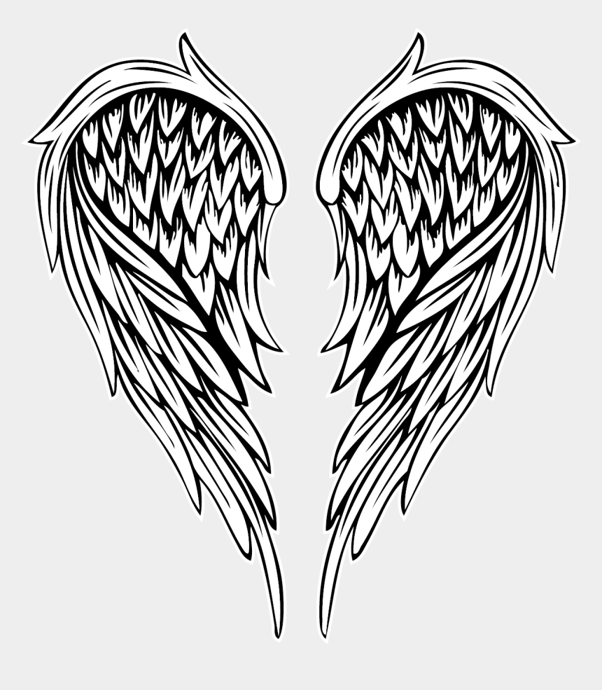 angel wings clipart black and white, Cartoons - Angelwings Wing Tattoos - Angel Wings Vector Png
