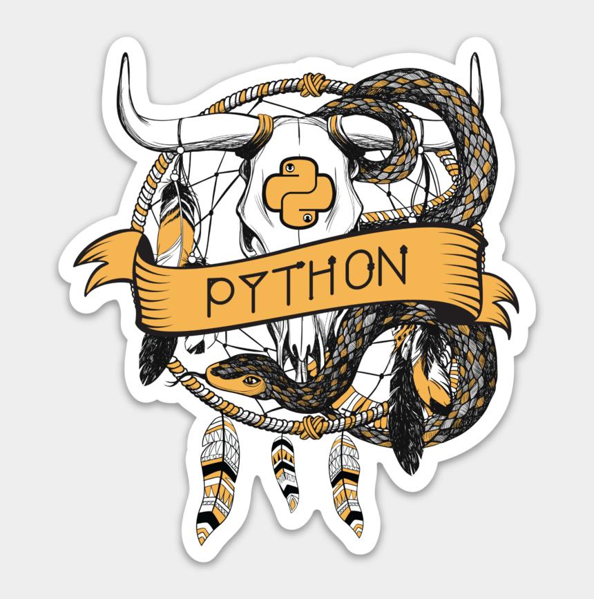 python clipart, Cartoons - Python Illustration By /u/denholmsdead In Sticker Form - Bull Skull And Snake Tattoo