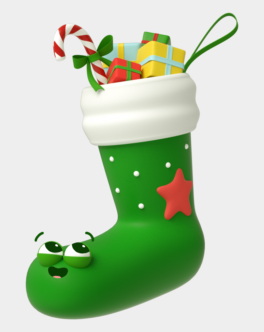 baby's first christmas clipart, Cartoons - The Stickers Were First Animated In 3d Before Adding - Christmas Stocking