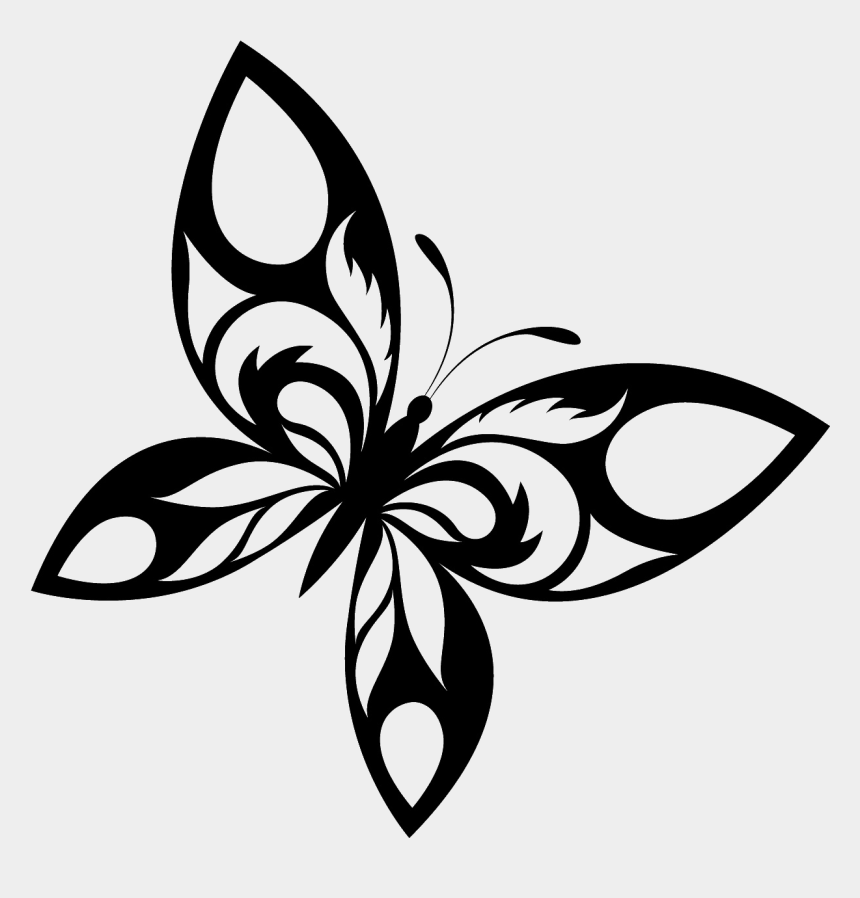 butterflies clipart border, Cartoons - Butterfly Tattoo Designs Free Download Png - Butterfly Design Black And White