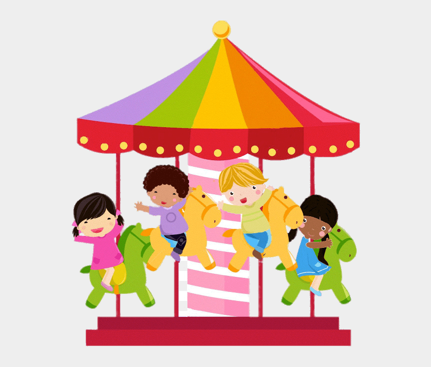 merry go round clipart, Cartoons - Colourful Merry Go Round Illustration - Merry Go Round Clipart
