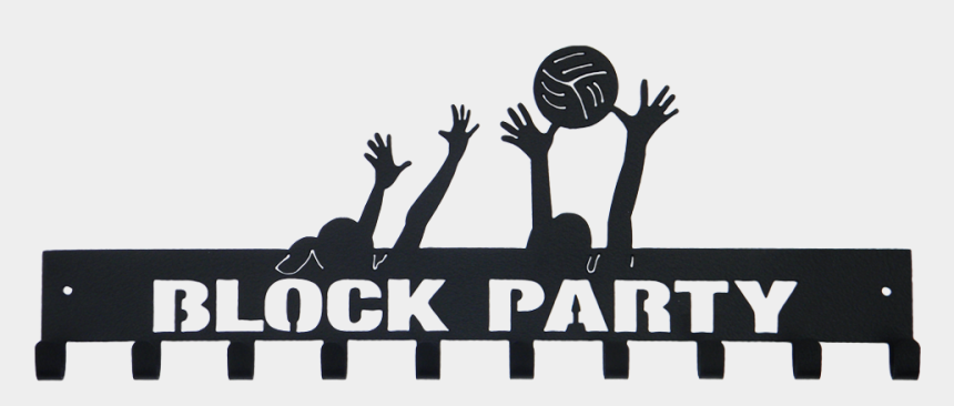 volleyball player silhouette clipart, Cartoons - Volleyball Clip Block - Block Party Logo Volleyball