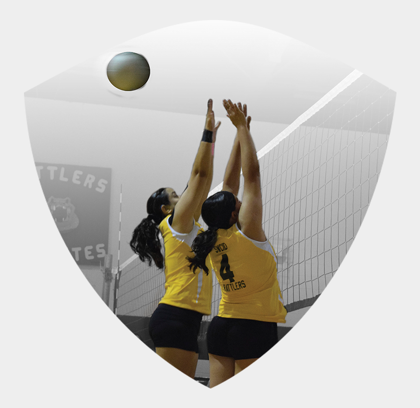 volleyball player silhouette clipart, Cartoons - Two Women's Volleyball Players Jumping To Block Ball - Beach Volleyball