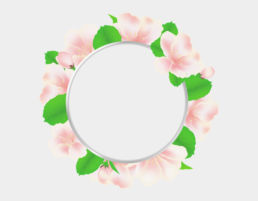 round frame clipart, Cartoons - Large Transparent Round Frame With Soft Flowers - Circle Flowers Png Frame