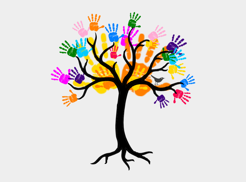 handprint tree clipart, Cartoons - Tree Clipart Black And White Png