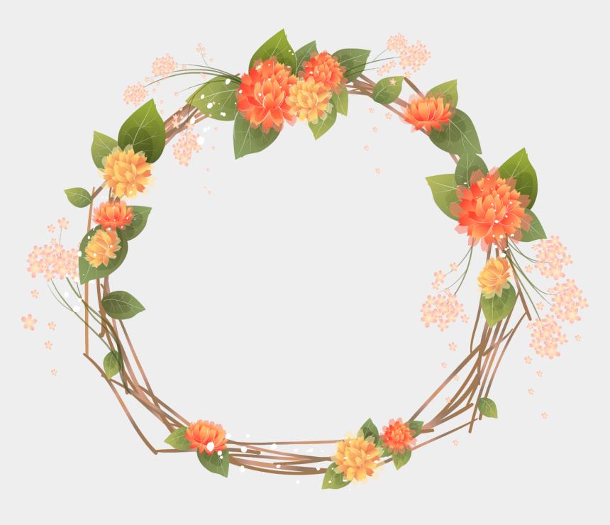 mexican flower clipart, Cartoons - Orange Flower Clipart Frame - Floral Frame Png Transparente