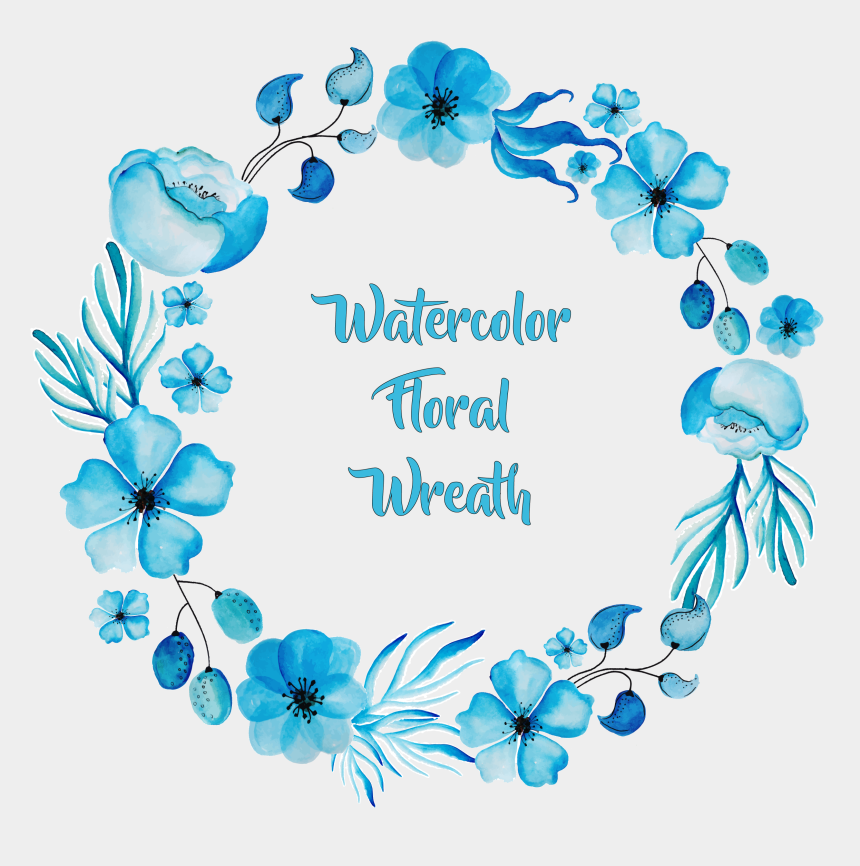 clipart wreath, Cartoons - Blue Flower Wreath Watercolor Painting Exquisite Clipart - Blue Flower Circle Frame Png