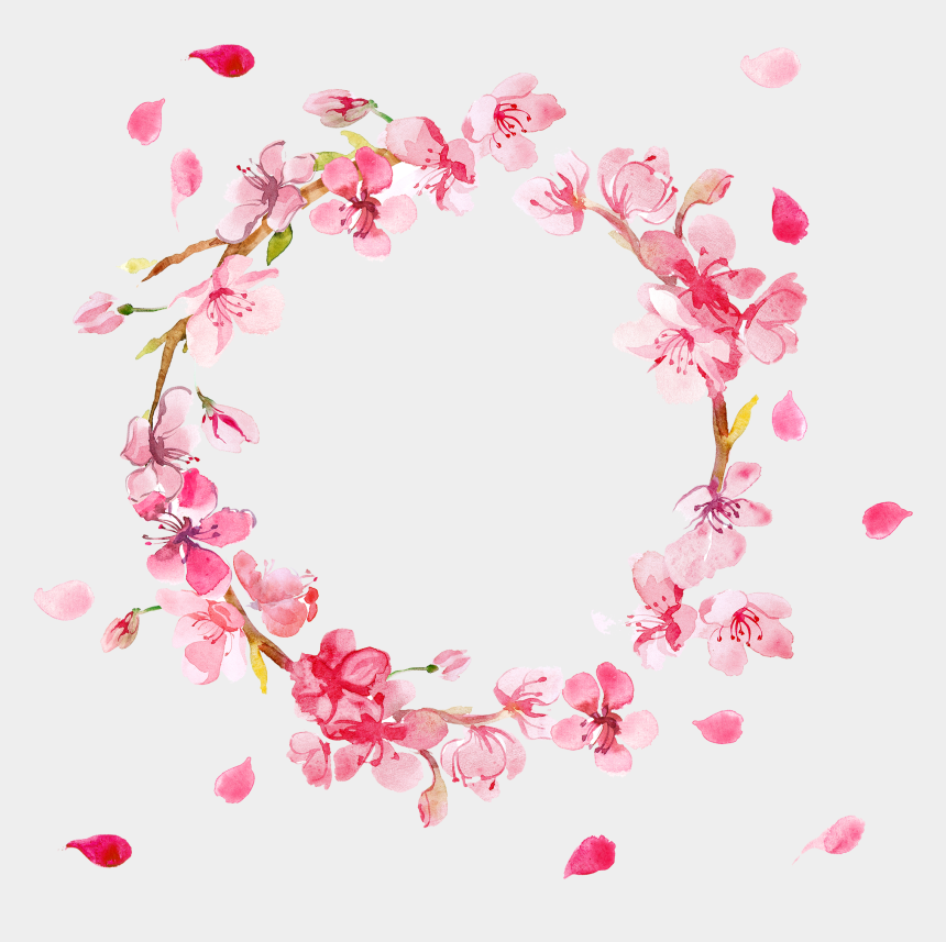 clipart wreath, Cartoons - Watercolor Flower Wreath Clipart - Border Pink Flowers Png