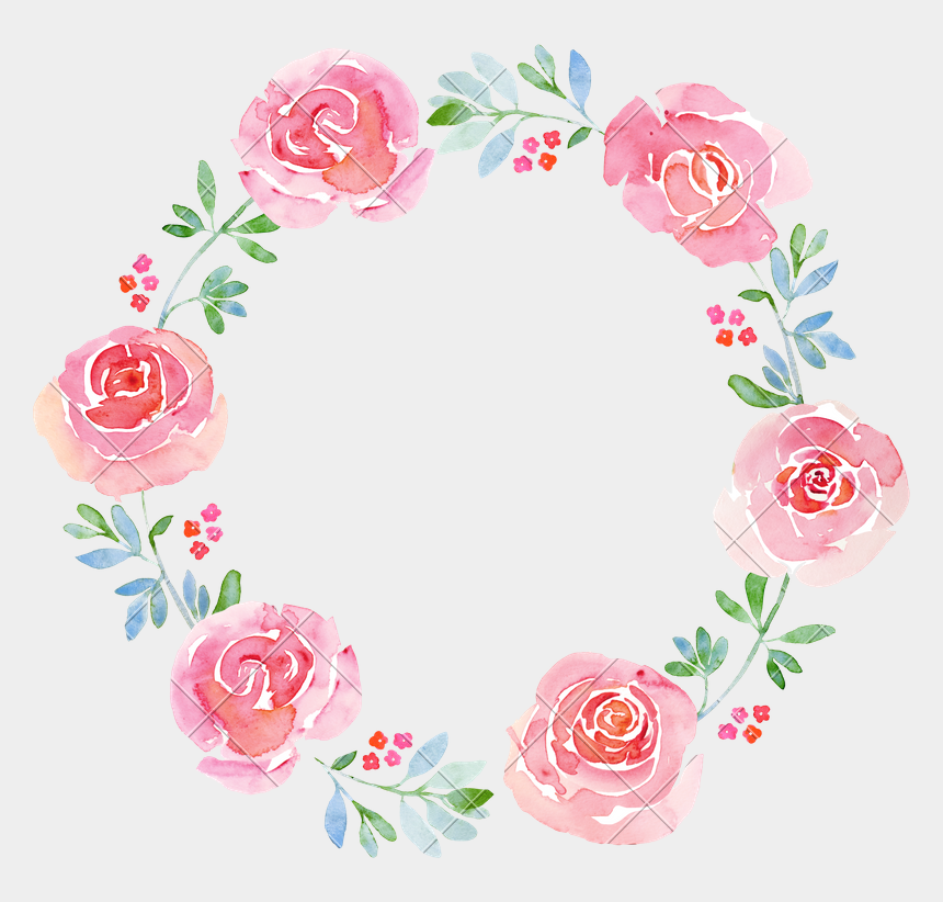 clipart wreath, Cartoons - Beautiful Flower Watercolor Wreath - Flower Watercolor Wreath Png
