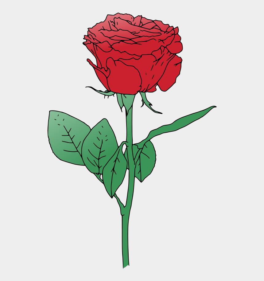 long stem rose clipart, Cartoons - Single Red Rose Clip Art - Red Rose Vector Art