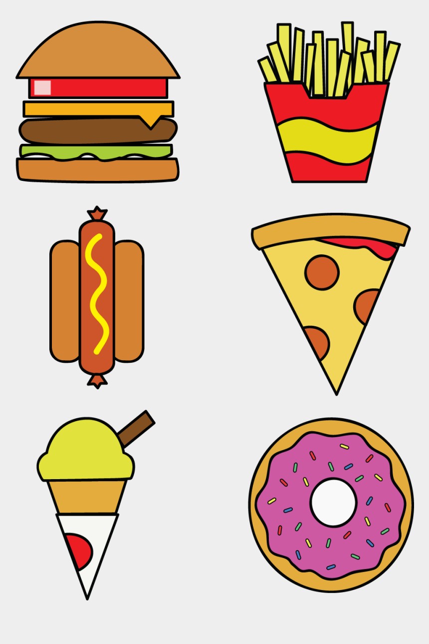 burger and fries clipart, Cartoons - Download Includes Illustrator Vector And Eps Files - Transparent Food Vector Art