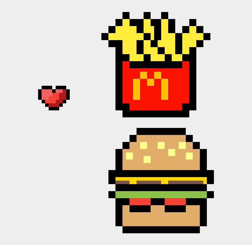 Mcdonalds Burger And Fries Kawaii Burger Pixel Art