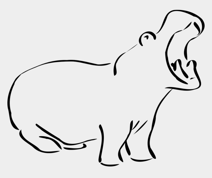 head outline clipart, Cartoons - Elephant Head Outline 14, Buy Clip Art - Hippo Clip Art