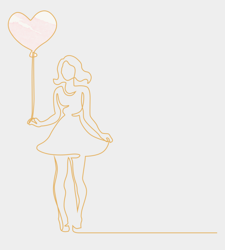 getting dressed in the morning clipart, Cartoons - Line Drawing Of A Woman Holding A Heart-shaped Balloon - Illustration