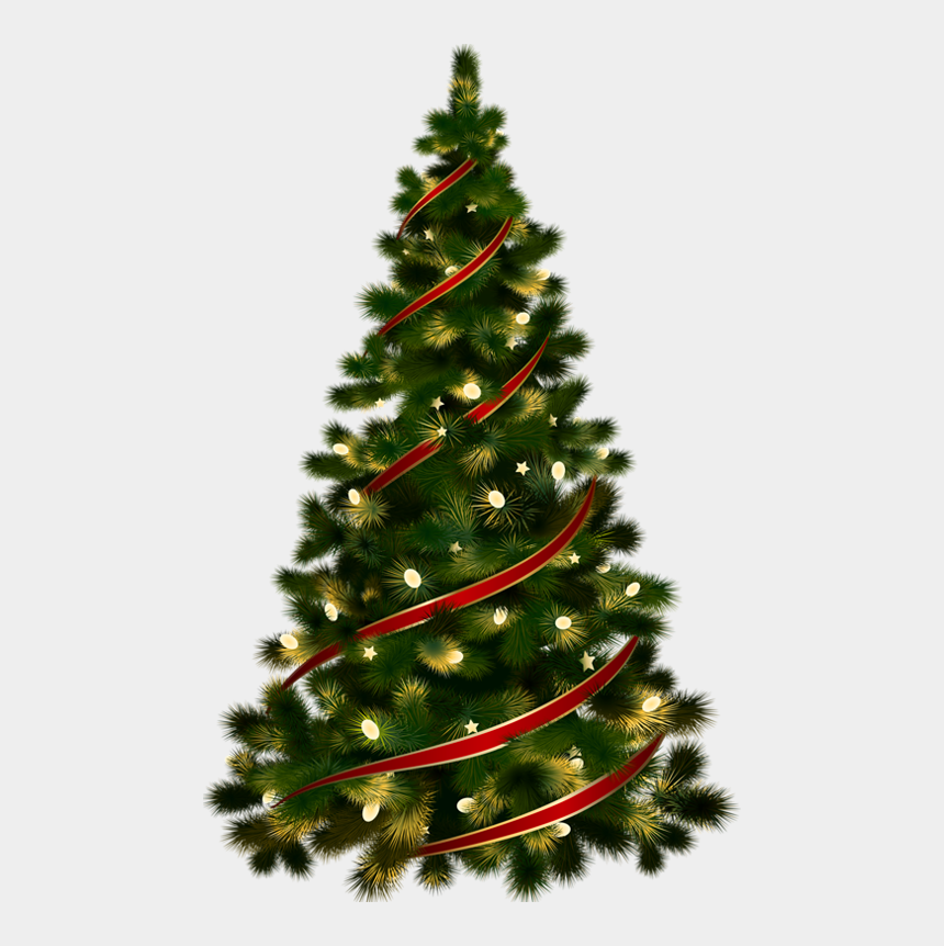 christmas trees clipart, Cartoons - Large Transparent Christmas Tree With Red Ribbon Clipart - Christmas Tree Clipart Transparent Background