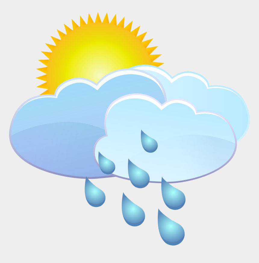 clouds clip art, Cartoons - Clouds Sun And Rain Drops Weather Icon Png Clip Art