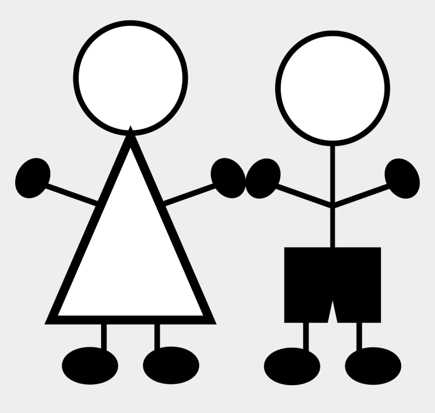 stick figure clipart, Cartoons - Stick Figures Children Girl - Boy And Girl Stick Figure