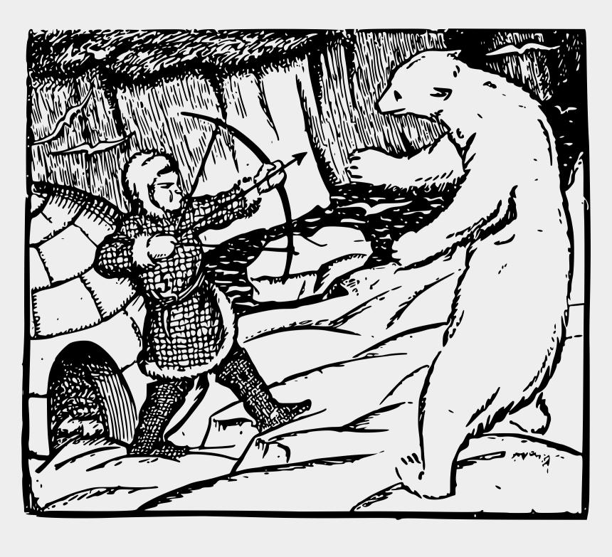polar bear clip art, Cartoons - Polar Bear And Inuit Man - Inuit Vs Bear