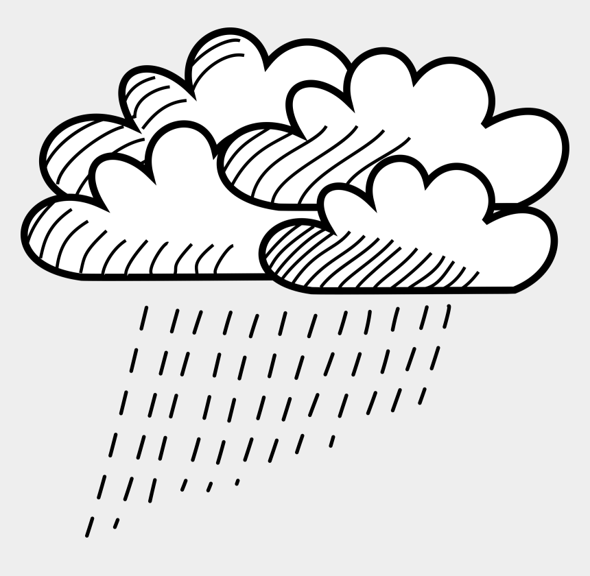 rain clip art, Cartoons - Rain Clipart Black And White - Cloud With Rain Drawing