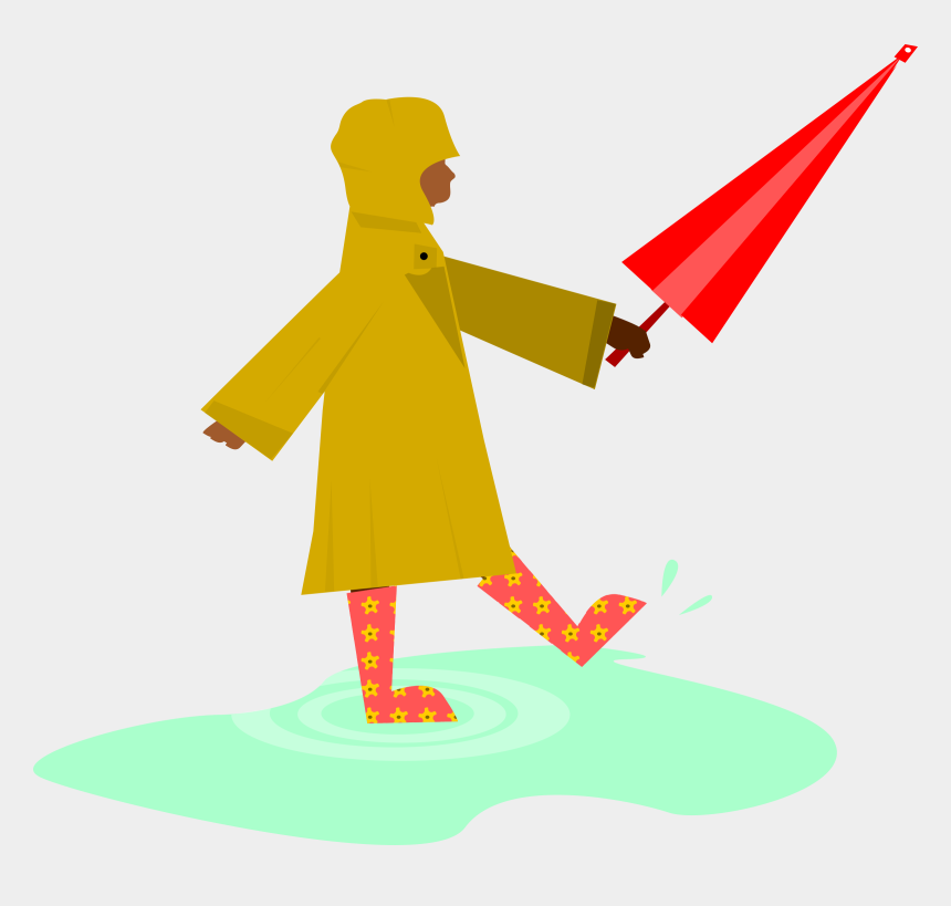 rain clip art, Cartoons - Child Playing In The Rain - Playing In Rain Png
