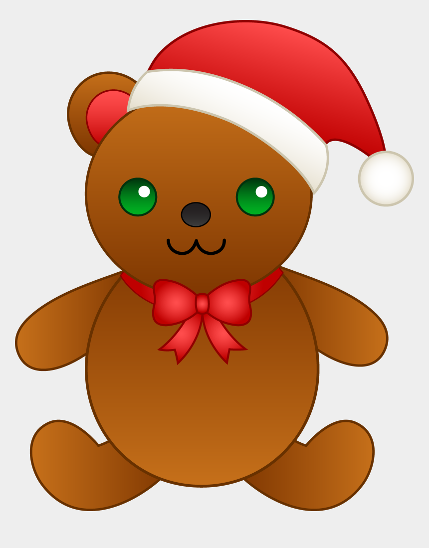 santa hat clip art, Cartoons - Christmas Teddy Bear With Santa Hat - Christmas Teddy Bear Cartoon