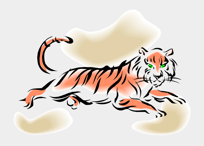 tiger mascot clipart, Cartoons - Leaping Tiger - Tiger Laying Down Clipart