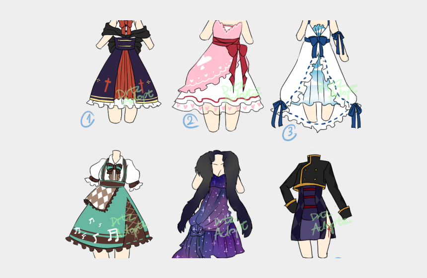 Gown Clipart Anime Dress , Anime Clothes Drawing, Cliparts