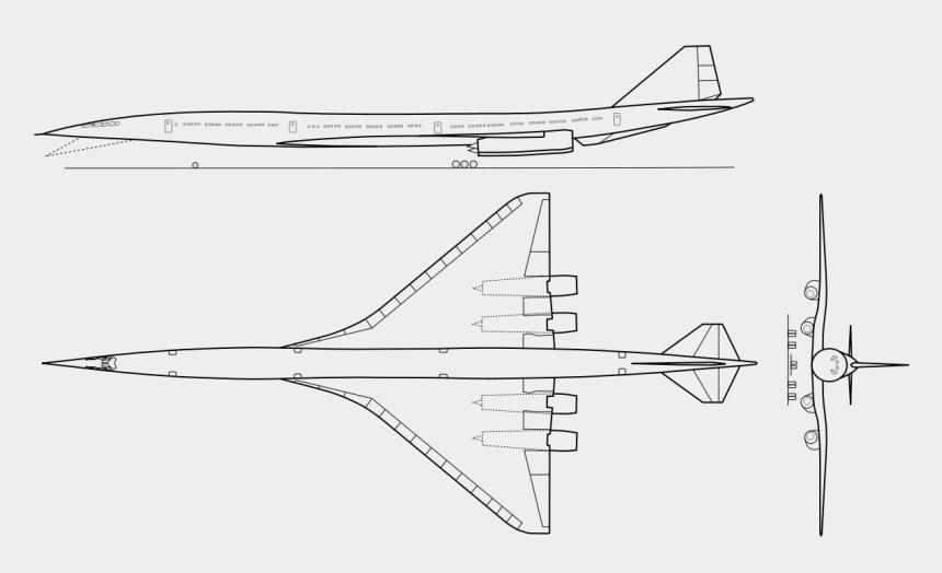 passenger clipart, Cartoons - Drawn Airplane Passenger Plane - Boeing 2707 Top View