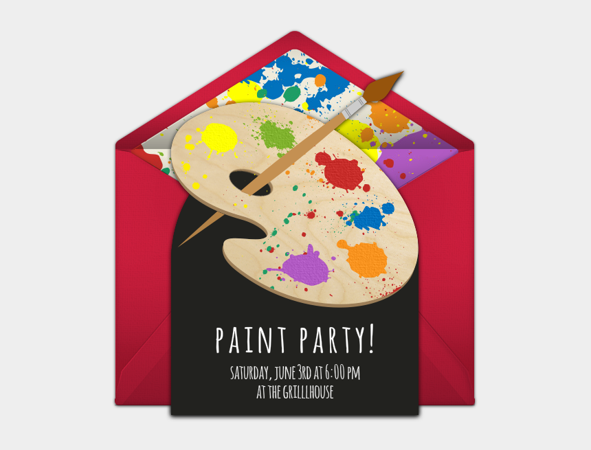 paint pallette clipart, Cartoons - A Great Free Birthday Party Invitation Featuring A - Sip And Paint Invitation Ideas