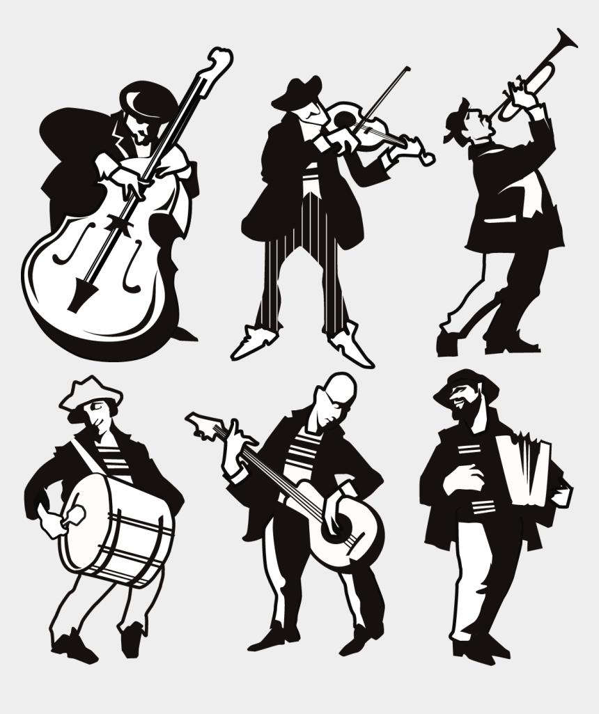 musicians clipart, Cartoons - Different Musicians Silhouette - Flat Design Jass