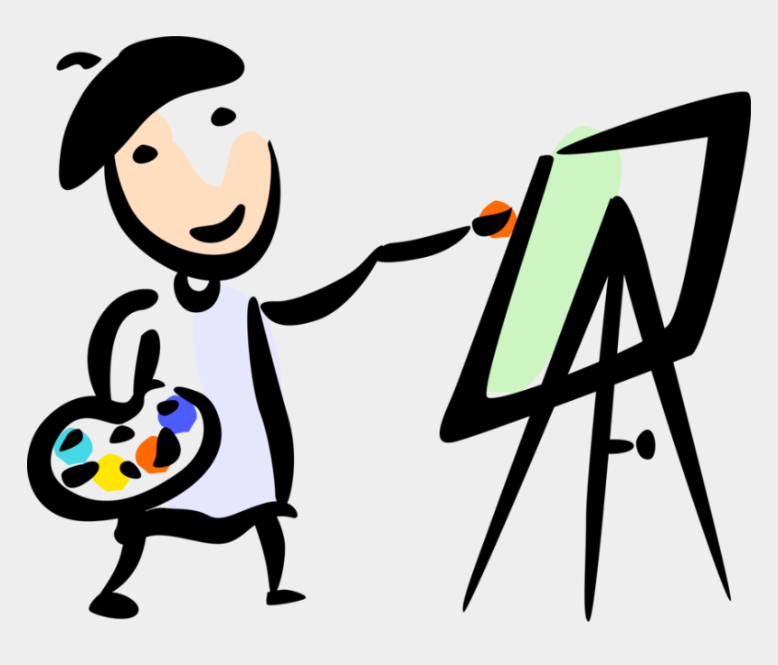 clipart paints, Cartoons - Artist Paints On Easel Vector Image Illustration Ⓒ