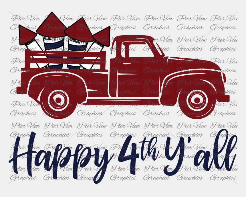 vintage truck clipart, Cartoons - Happy 4th Y'all Red Truck Sublimation Transfer - Red Truck With Tree