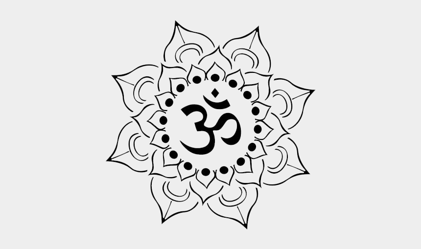 yoga clipart black and white, Cartoons - Tattoo Om Nelumbo Nucifera Lotus Symbol Tattoos - Mandala Om Tattoo Design