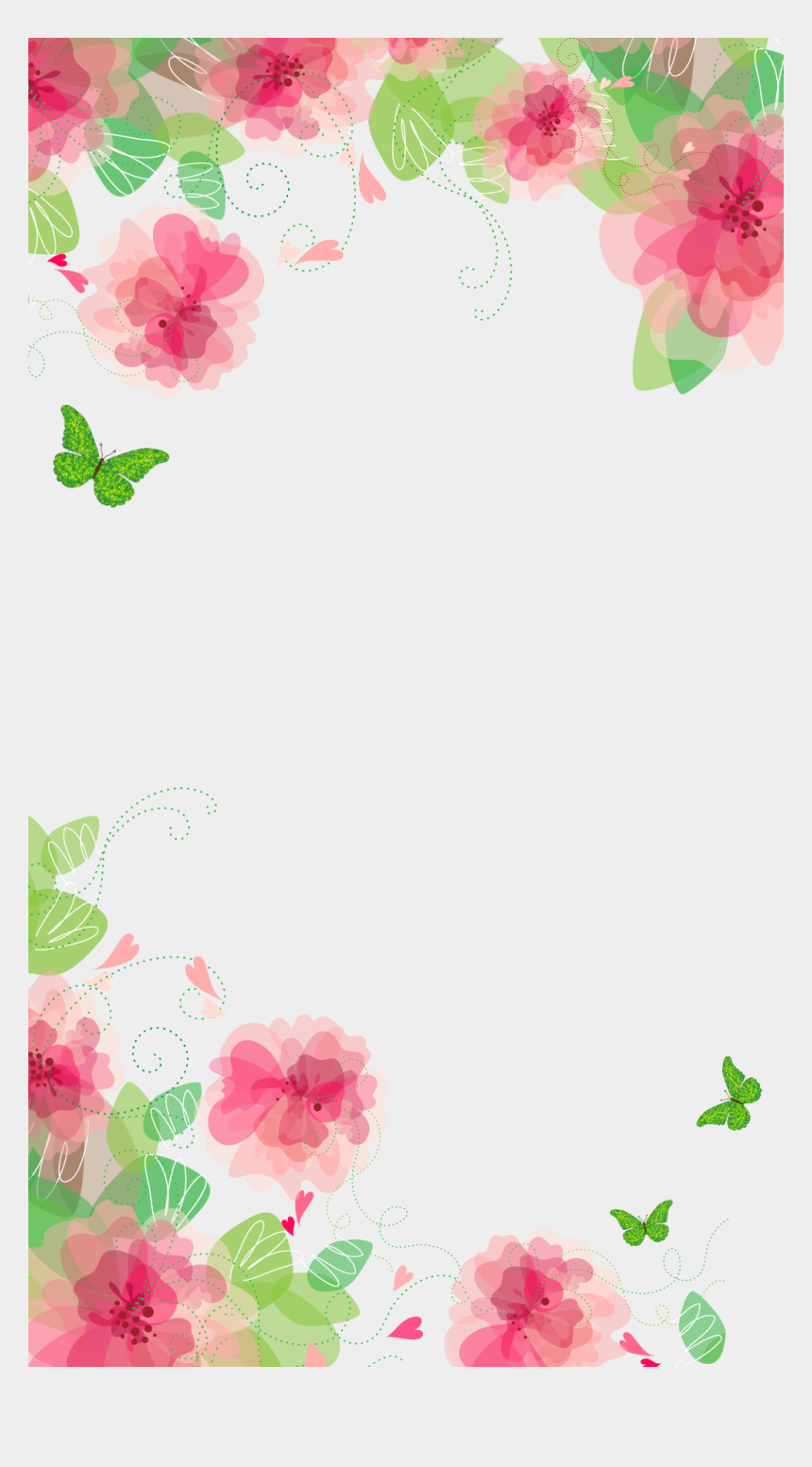 spring flowers and butterflies clipart, Cartoons - #spring #flowers #butterflies #frame #border #ftestickers - Flower Background