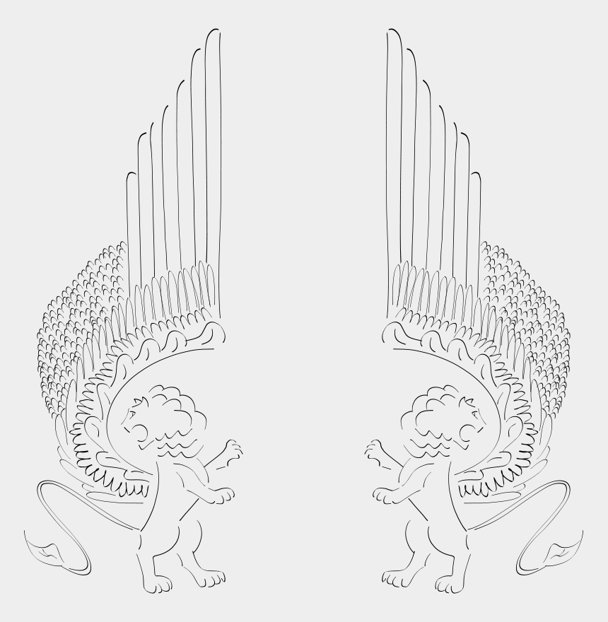 winged foot clipart, Cartoons - Free Winged Lions Facing Out - Winged Lions Line Drawing