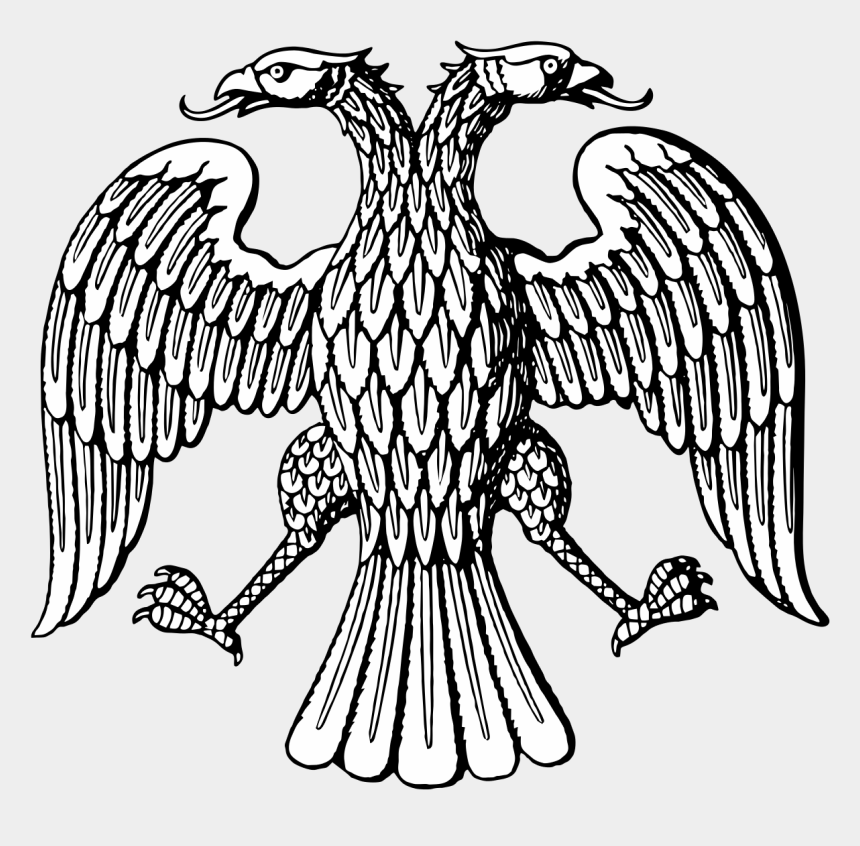 eagle head clipart black and white, Cartoons - Two Headed Eagle Drawing